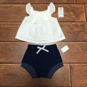 White & Navy 2-Piece Baby Girl Summer Outfit 6-9M